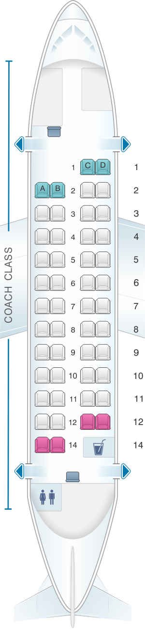 Seat map for Hawaiian Airlines ATR 42 500