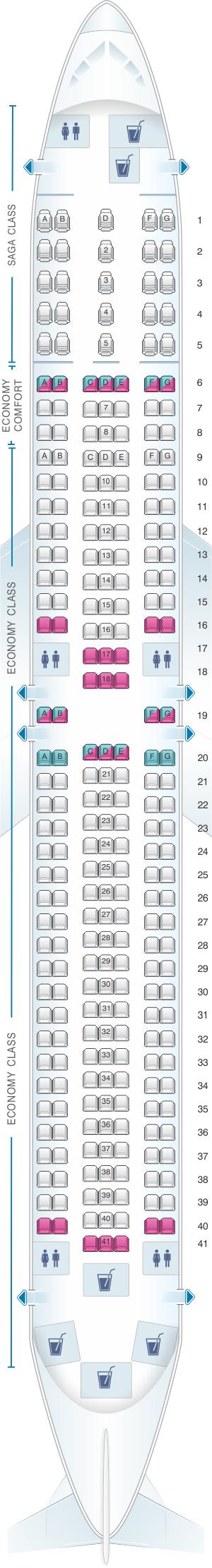 Seat map for Icelandair Boeing B767 300ER