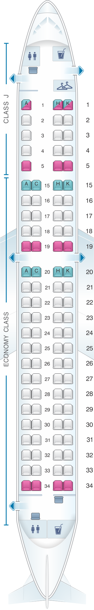 Seat map for Japan Airlines (JAL) Embraer 190 M11