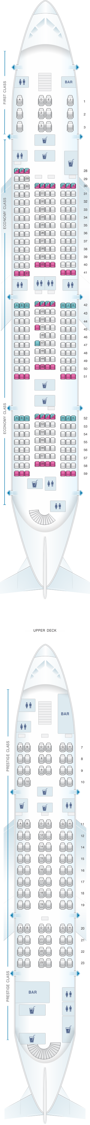 Seat map for Korean Air Airbus A380 800 399PAX