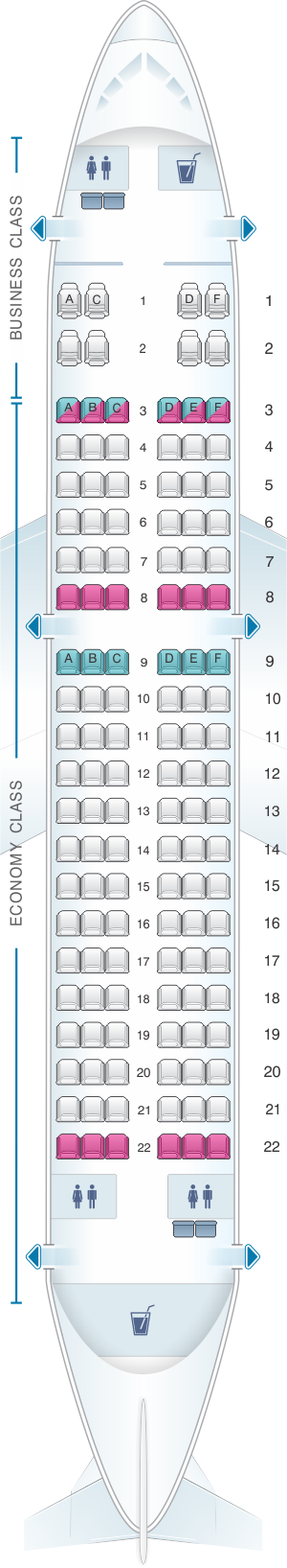 Seat map for Rossiya Airlines Airbus A319 128PAX