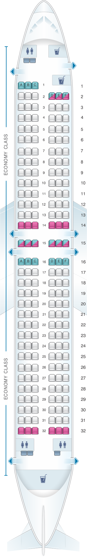 Seat map for Rossiya Airlines Boeing B737 800 189PAX V1