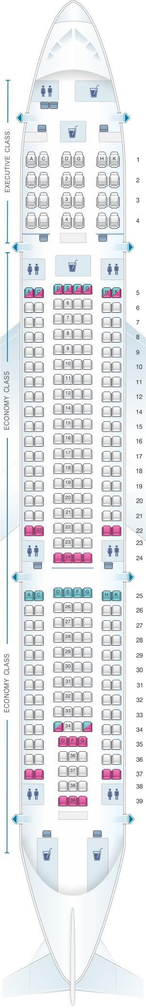 Seat map for SATA Air Açores Airbus A330 200