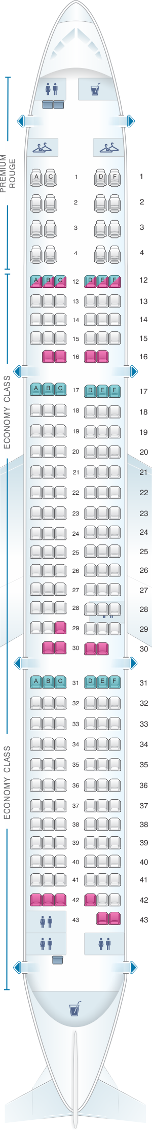 Seat map for Air Canada Airbus A321 200 Rouge