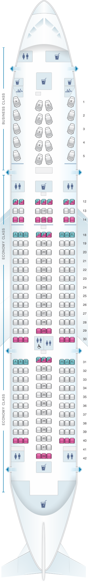 Seat map for Air Canada Boeing B787-8 (788) North America