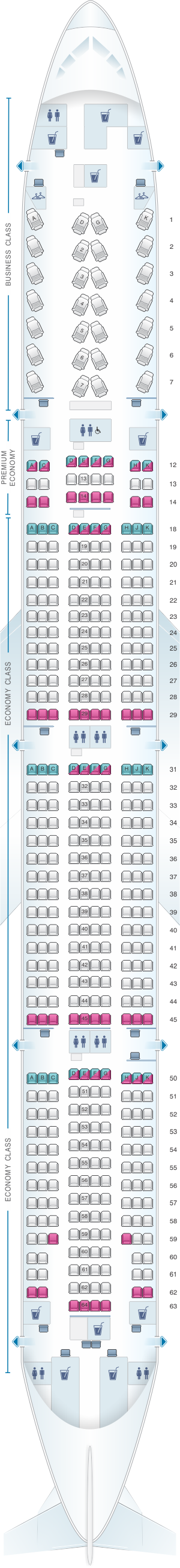 Seat map for Air Canada Boeing B777 300ER (77W) International Layout 2