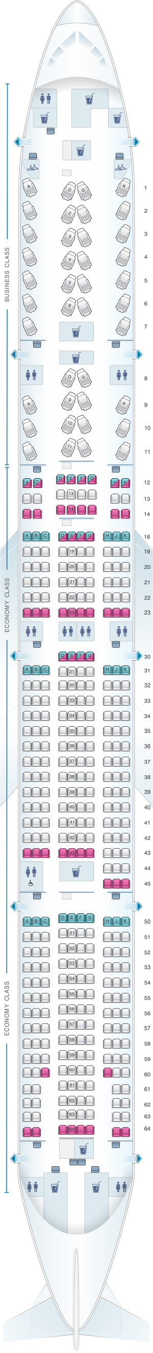 Seat map for Air Canada Boeing B777 300ER (77W) North America Layout 1