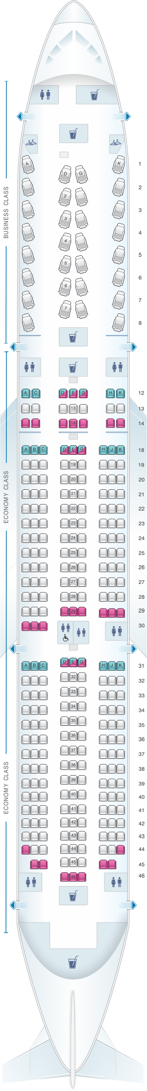 Seat map for Air Canada Boeing B787-9 (789) North America