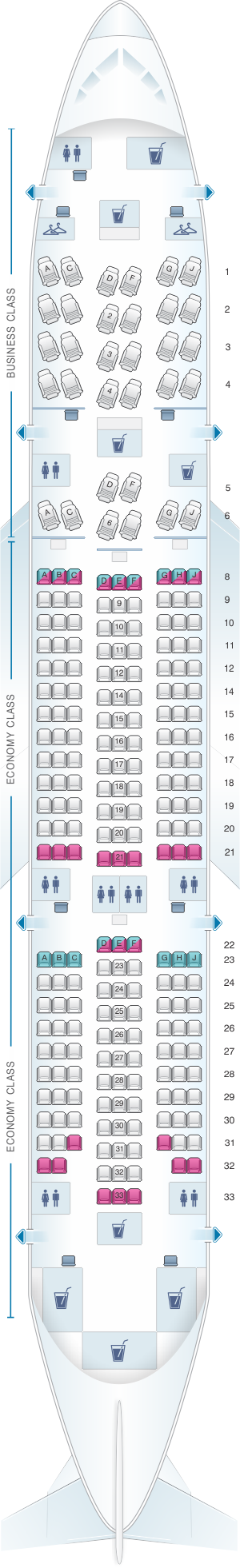 Seat map for Aeromexico Boeing B787-8