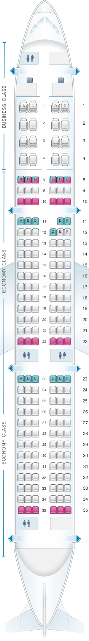 Seat map for Aeroflot Russian Airlines Airbus A321 Config.2
