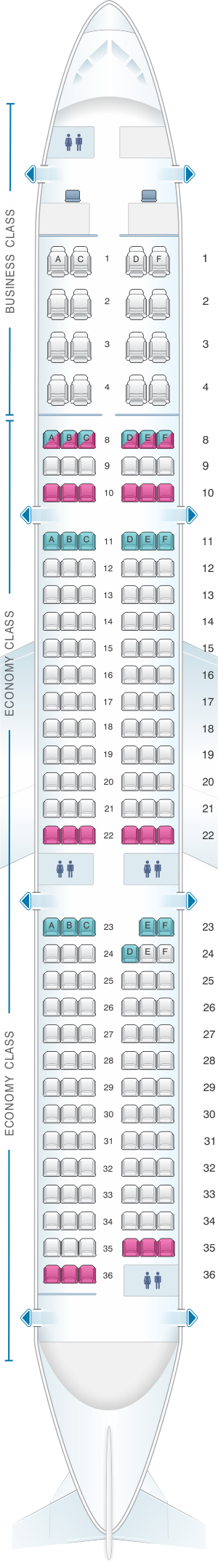 Seat map for Aeroflot Russian Airlines Airbus A321 Config.3