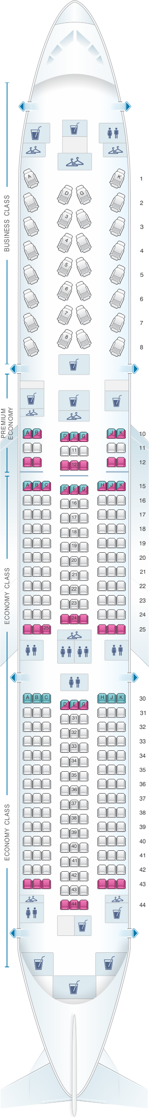 Seat map for Air France Boeing B787-9