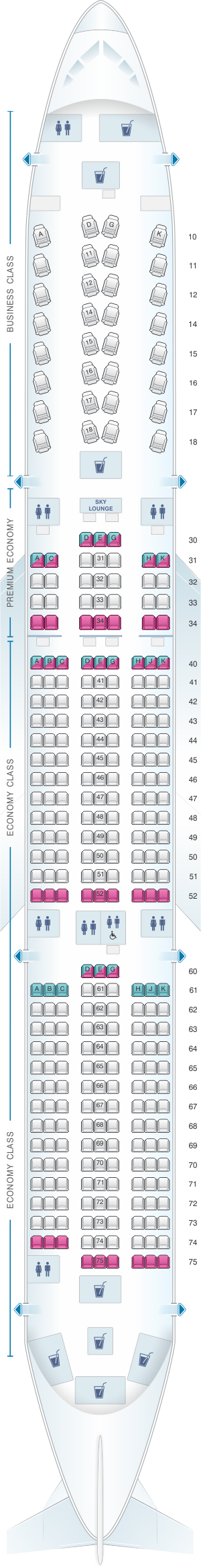 Seat map for China Airlines Airbus A350 900