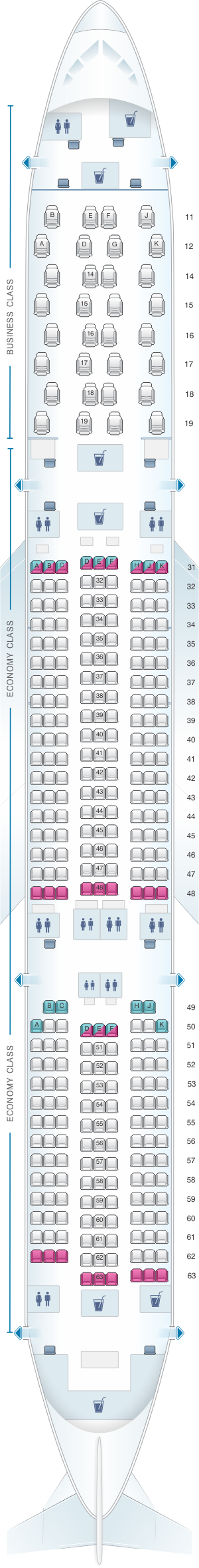 Seat map for Thai Airways International Airbus A350 900