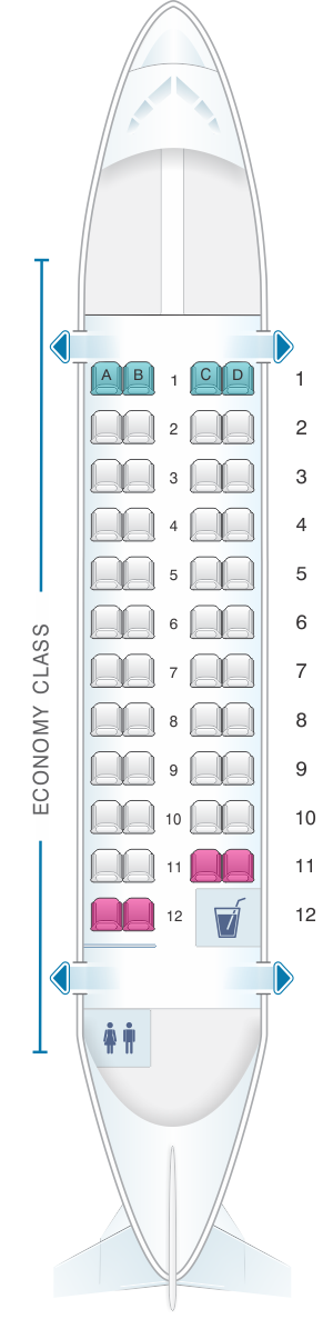 Seat map for United Airlines ATR42