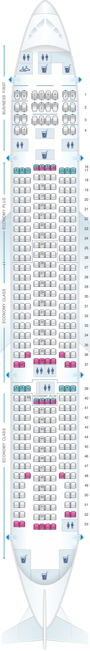 Seat map for United Airlines Boeing B777 200 (777) – version 4