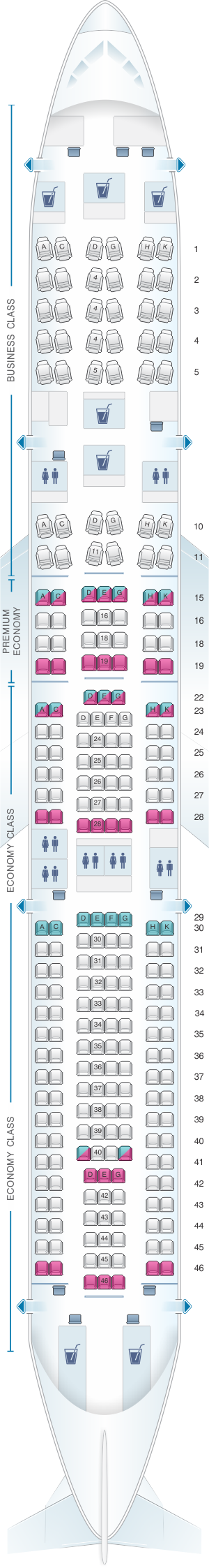 Seat map for Lufthansa Airbus A330 300 255pax