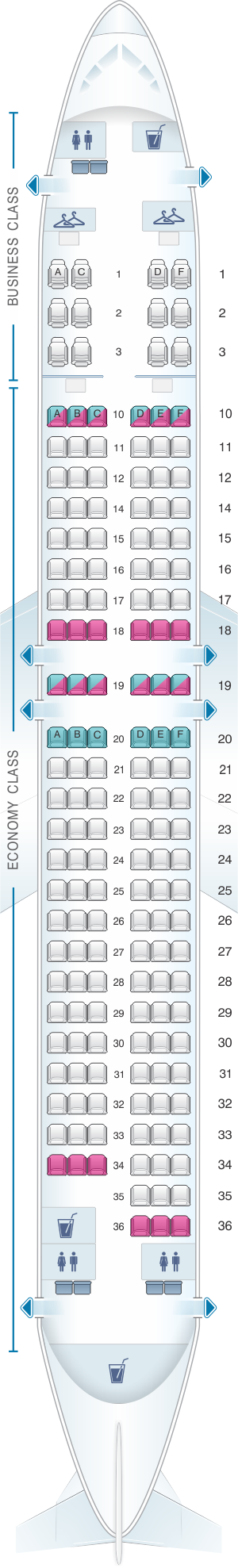 Seat map for Oman Air Boeing B737 800 V2