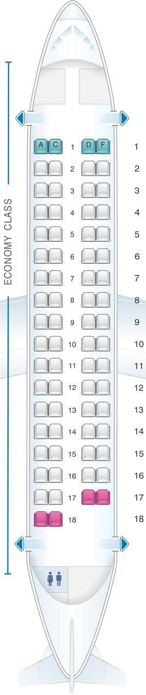 Seat map for Air Caraibes ATR 72 500