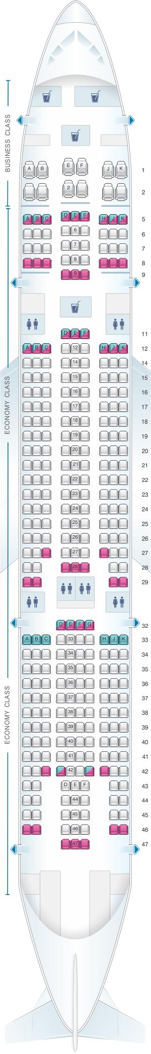 Seat map for Air Caraibes Airbus A330 200
