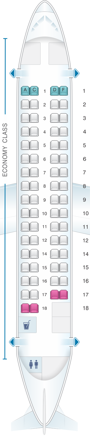 Seat map for Air France ATR 72 500 V1