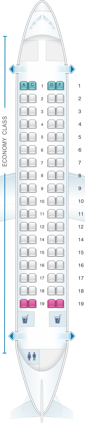 Seat map for Air France ATR 72 600