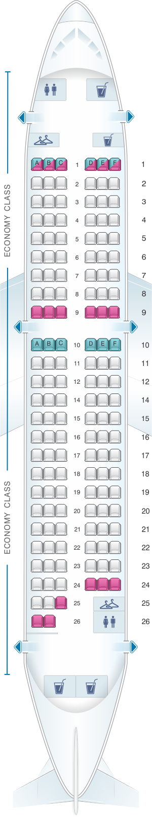 Seat map for Air France Airbus A319 Metropolitan V2