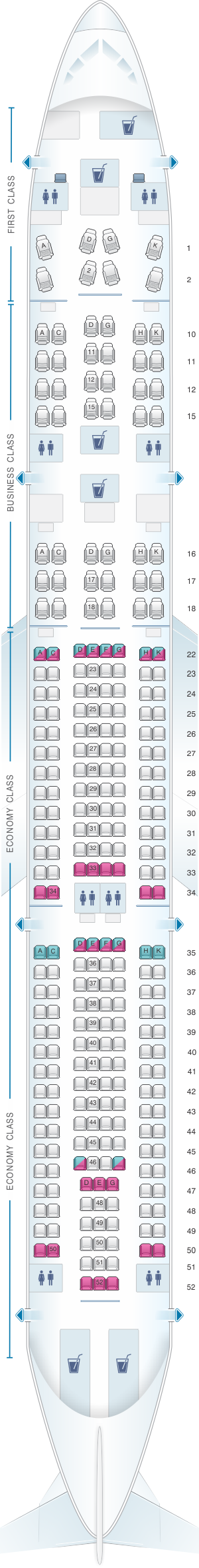 Seat map for Cathay Pacific Airways Cathay Dragon Airbus A330 300 (A33R)