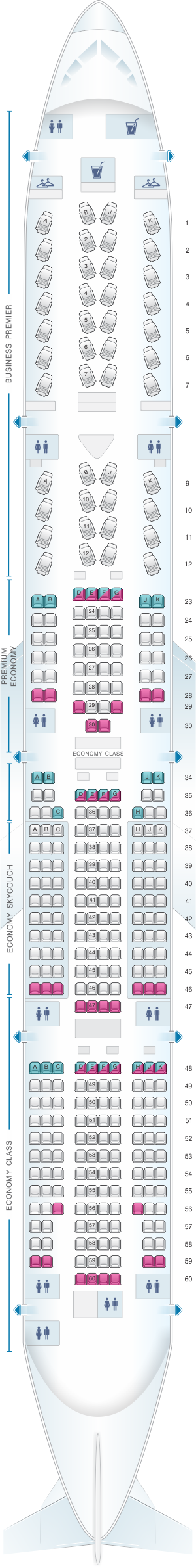 Seat map for Air New Zealand Boeing B777 300 refurbished