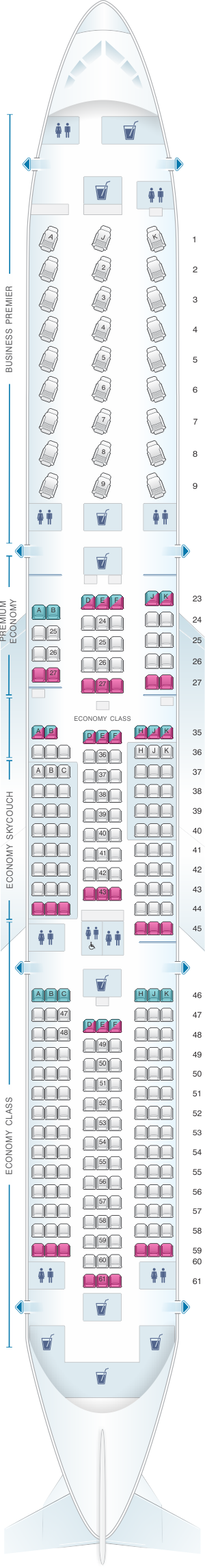 Seat map for Air New Zealand Boeing B787 9 Config.2