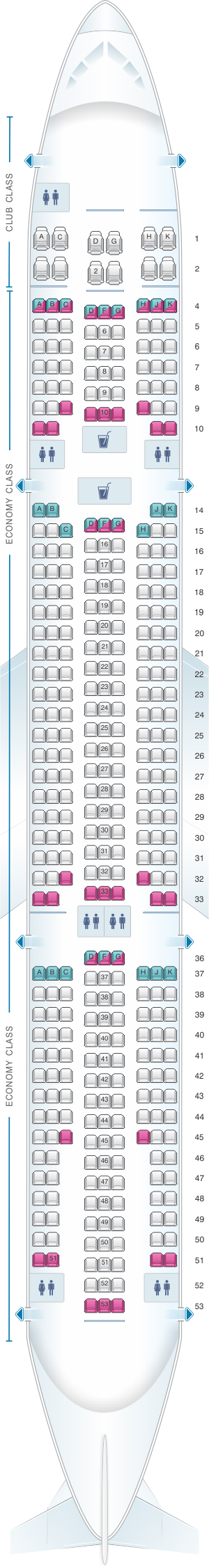 Seat map for Air Transat Airbus A330 300 375pax