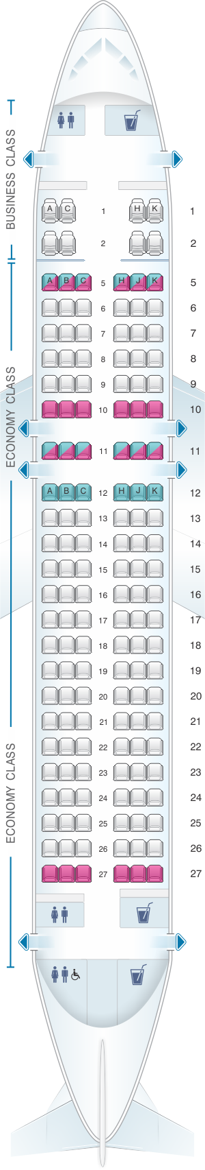 Seat map for ANA - All Nippon Airways Airbus A320 neo