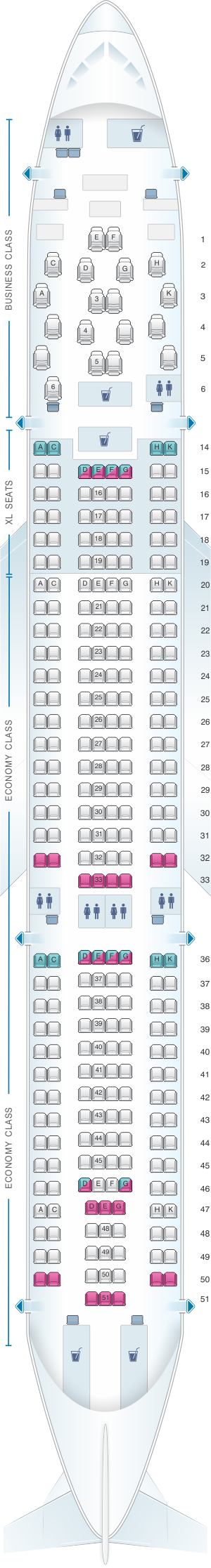 Seat map for airberlin Airbus A330 200