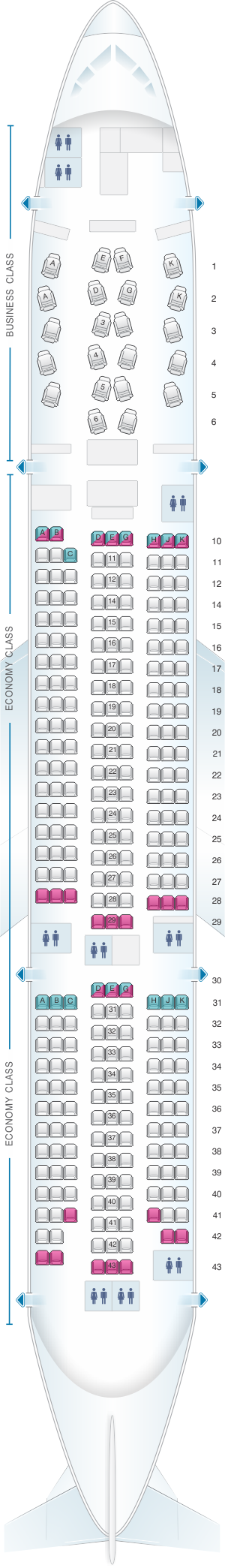 Seat map for Asiana Airlines Boeing B777 200ER 300PAX V2