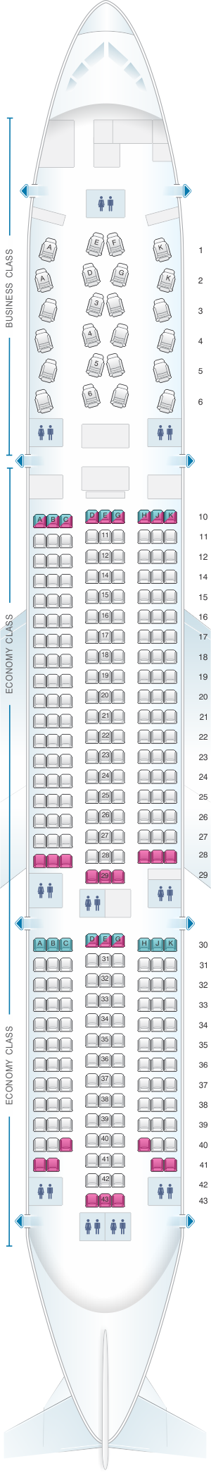 Seat map for Asiana Airlines Boeing B777 200ER 301PAX