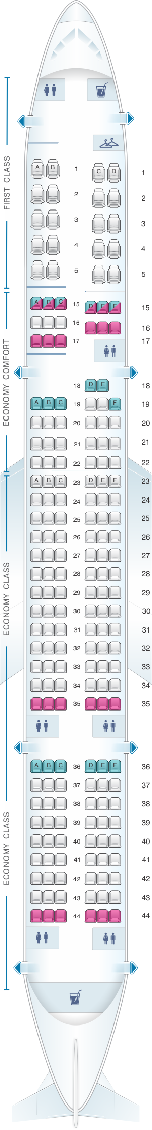Seat map for Delta Air Lines Boeing B757 200 (75P)
