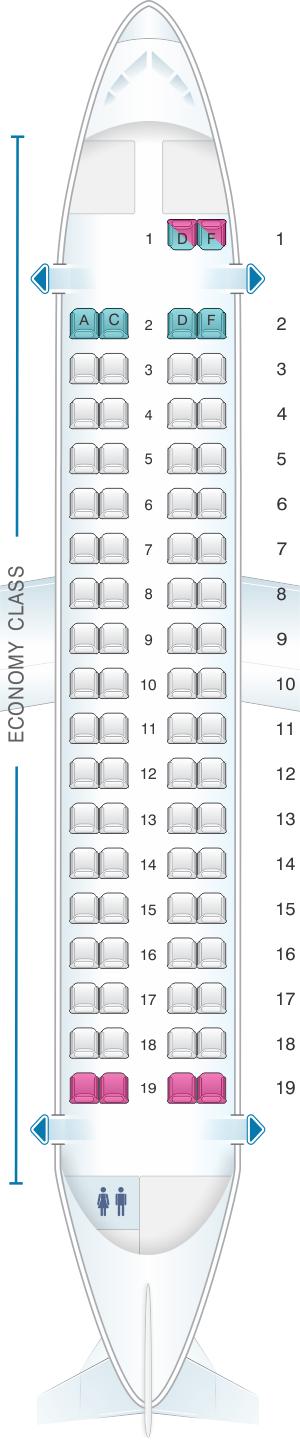 Seat map for IndiGo ATR 72