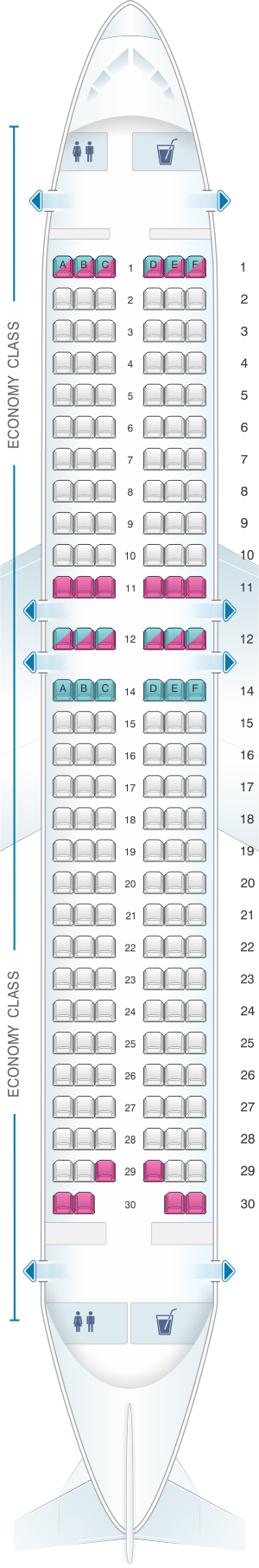 Seat map for ANA - All Nippon Airways Airbus A320 domestic
