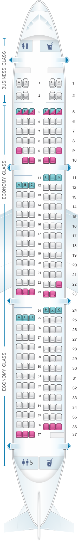 Seat map for ANA - All Nippon Airways Airbus A321 domestic