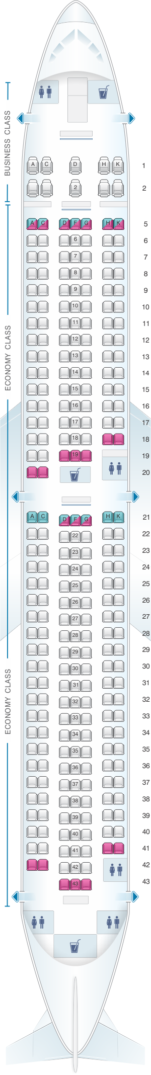 Seat map for ANA - All Nippon Airways Boeing B767 300 domestic