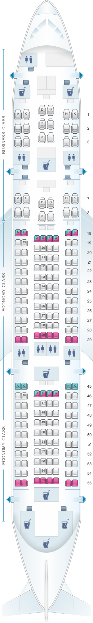 Seat map for Japan Airlines (JAL) Boeing B787-8 E03