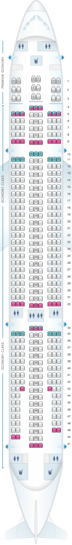 Seat map for Lion Air Airbus A330 300
