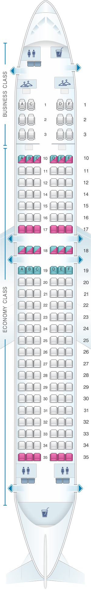 Seat map for Oman Air Boeing B737 MAX 8