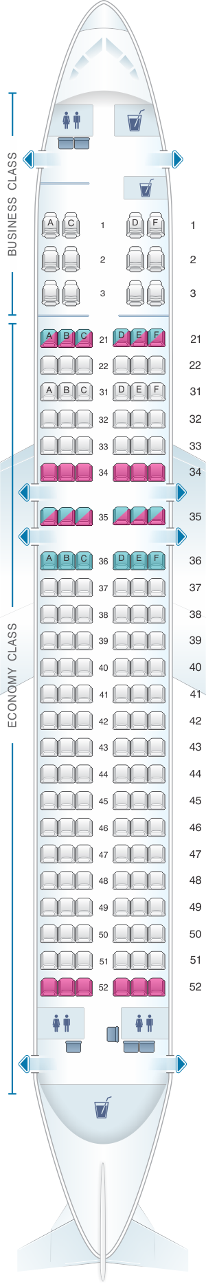 Seat map for Philippine Airlines Airbus A320 200 V1