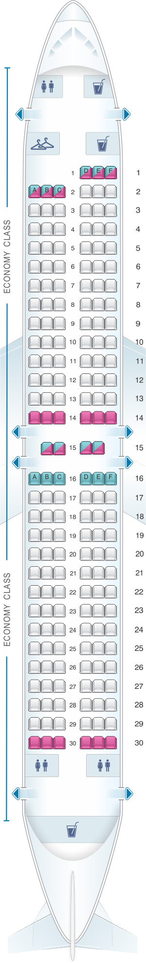 Seat map for Southwest Airlines Boeing B737 MAX 8