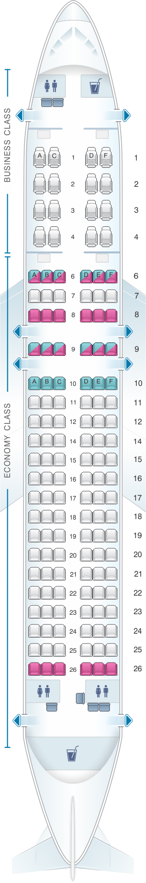 Seat map for SriLankan Airlines Airbus A320 Config. 2