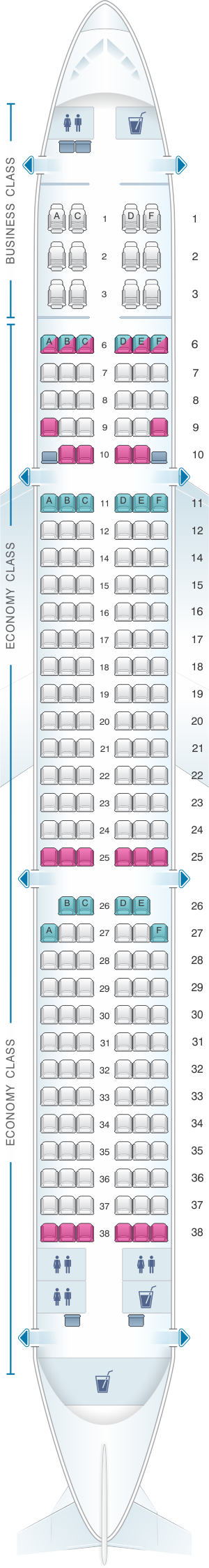 Seat map for SriLankan Airlines Airbus A321 231 Config. 1