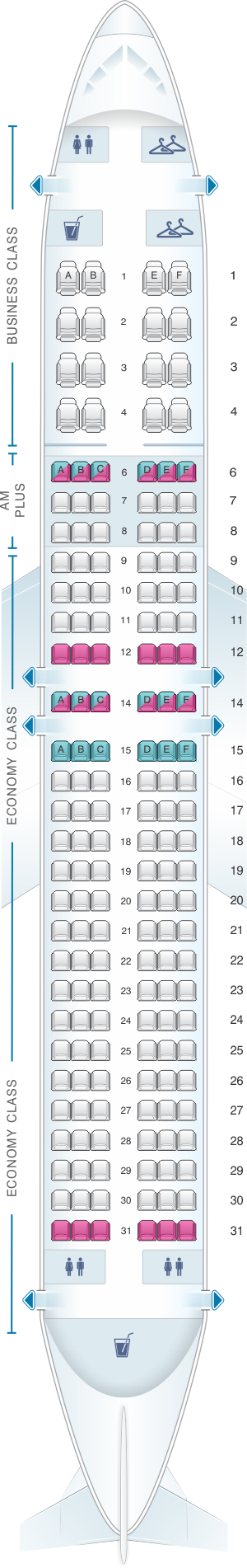 Seat map for Aeromexico Boeing B737 MAX 8