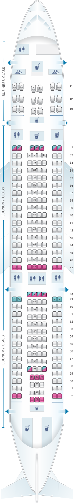 Seat map for Air China Airbus A330 200 (265PAX)