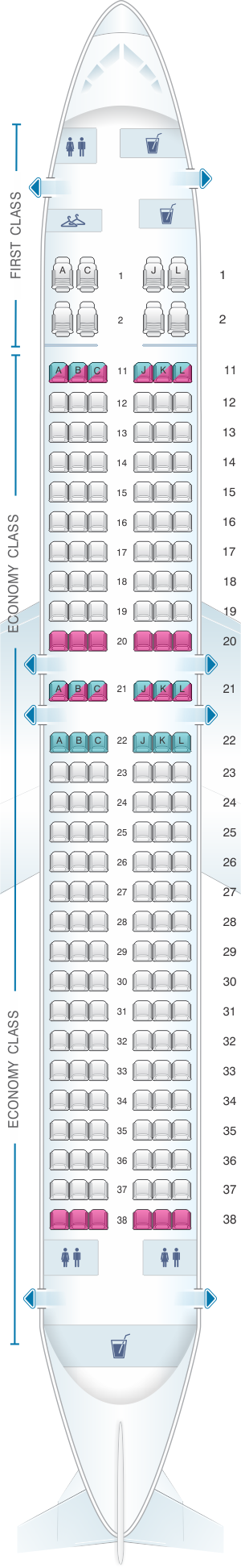 Seat map for Air China Boeing B737 800 (176PAX)